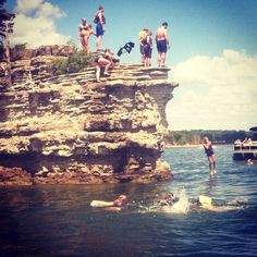 The kids love the cliffs and jumping into the lake!