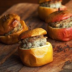 Baked Cox's Apples with a Pork, Sage and Onion Stuffing. A great accompaniment to roast meats. #apples #autumn #sundaylunch