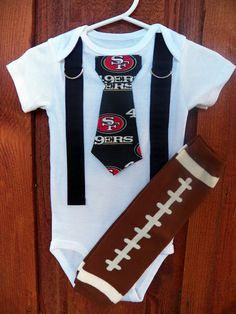 Baby Boys Tie Onesie with Suspenders and Football Leggings - GET THE SET - San Francisco 49er's - Size nb to 12 Years Antsy Pants. $26.00, via Etsy.