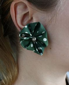 Green and White Polka Dot Flower Earrings by potsdamelf on Etsy, $19.00