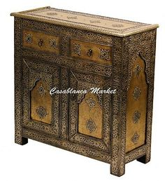 """This is very elegant and practical cabinet, it's handmade and engraved in Marrakech. Dimension: 39""""H x 35.5""""W x 14""""deep. SKU:..."""