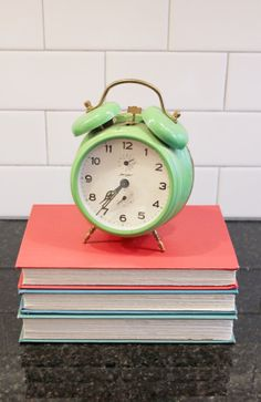 Wake Up!... Vintage German Jerger Alarm Clock, Twin Bell, Wind-up, Retro Green Enamel and Brass