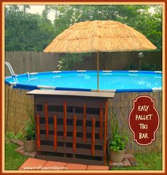 how to disguise the outside of a intex pool | DIY Pallet Tiki Bar - Feature of the Day