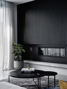 Black on black: A sleek and dramatic home tour. Black timber panel wall in livin. Black on black: A sleek and dramatic home tour. Black timber panel wall in living room, architectural timber panel wall, timber panel detailing in home My Living Room, Interior Design Living Room, Living Room Designs, Living Room Decor, Interior Livingroom, Modern Living Room Design, Feature Wall Living Room, Barn Living, Living Walls