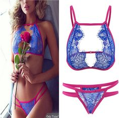 352543aa3e4 Blue Sexy Transparent Lace Lingerie With no Falsies Midnight Snacks