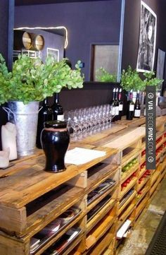 More awesome ideas for palets! Going to start searching for wood palets! Decor, Recycled Pallet Furniture, Pallet Shelves, Home Projects, Interior, Diy Furniture, Wood Pallets, Tasting Room, Sweet Home