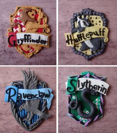 Hogwarts house crests made of clay!