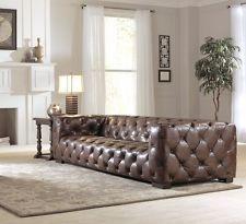 "112"" W Oversize Sofa Tufted Vintage Brown Leather Wood Frame Spectacular Quality | eBay"