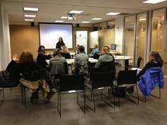 """Judi's teaching new strategies to people looking to start businesses during the Women's Business Center's """"New Start, New You"""" @UArts Corzo Center for Creative Economy. 1/31/13"""