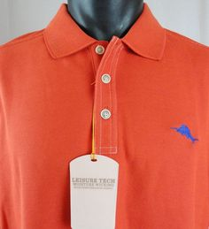 NWT Tommy Bahama Mens XL Emfielder Polo Shirt Red SS Pima Blend Performance New #TommyBahama #Polo