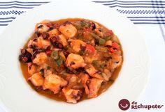Cómo preparar pulpo a lo sochantre, receta gallega similar al pulpo a la mugardesa, ya que ambas se preparan como un guiso con verduras. Preparación paso a paso y fotos