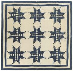 "early american quilts | AMERICAN BLUE AND WHITE ""FEATHERED STAR"" QUILT. Late 19th/early 20th ..."