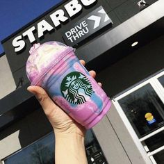 Unicorn Frappucino Starbucks's Adorable, but extremely unhealthy. It's as bad as eating 3 Snickers bars