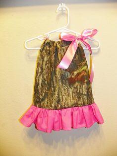 Mossy Oak ruffle  hot pink baby girl 0 3 6 9 12 18 months pillowcase dress camo. $21.00, via Etsy.