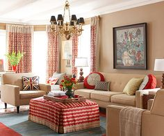 Love the red and khaki color palette! Traditional furniture with modern lines!  Via BHG.com