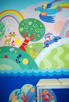 Fun, creative interiors and wall murals for children by Masha Manun. The variety of colours and patterns are engaging, provoking creativity and positivity for young people. The illustrative style here could work across different platforms, and would animate beautifully.: