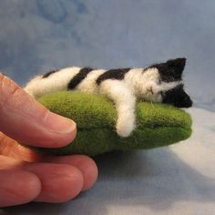 PLACE AN ORDER for a Sleeping Kitty Pincushion (31011-2). $32.00, via Etsy.