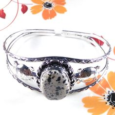 Dalmatian Jasper Gemstone Jewelry 925 Silver Plated Adjustable Cuff Bracelet #Unbranded #BangleCuff