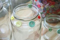 so easy . . . wire & buttons on mason jars just waiting for tealights on a summer evening.