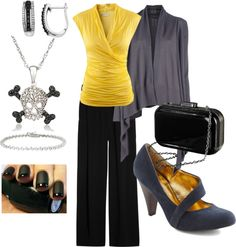 """""""black yellow and gray"""" by slang88 on Polyvore"""