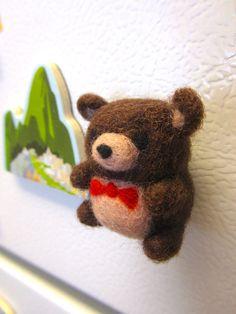 Needle Felted Bear Magnet, Needle felted animals, Felt bear, Cute bear, Bear ornament, Cute magnet, Felt magnets, Woodland decor, Teddy bear, Kitchen decor