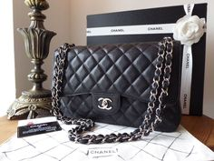 fe6841fdb660 Chanel Classic Jumbo Flap in Black Caviar Leather with Shiny Silver  Hardware - SOLD