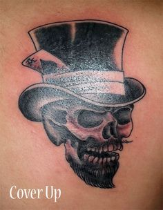 Traditional Skull & Top Hat Tattooed by Pete Skidmore, Pinnacle Tattoo, Corpus Christi, TX.