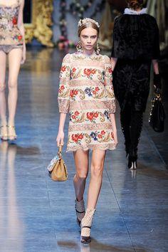 Cara Delevigne-Dolce & Gabbana Fall 2012 RTW-florals-statement jewelry.