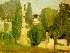 In a park by David Burliuk. Size: 29.3x39in. Medium: oil on canvas .
