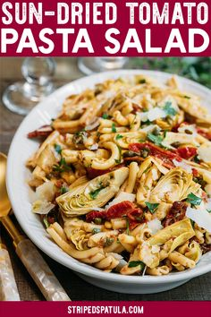 This Sun-Dried Tomato Pasta Salad recipe with sun-dried tomato vinaigrette, artichoke hearts, and Pecorino Romano cheese is easy to make and delicious! Perfect for a summer side dish or meatless dinner! Source by Dresses for dinner Tomato Pasta Salad, Sundried Tomato Pasta, Pasta Salad With Tortellini, Sundried Tomato Recipes, Chicken Salad, Asparagus Salad, Broccoli Salad, Recipes With Cavatelli Pasta, Best Pasta Salad