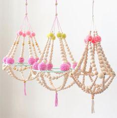 Handmade Beaded Chandelier | GalbieStudio on Etsy #nurserydecor
