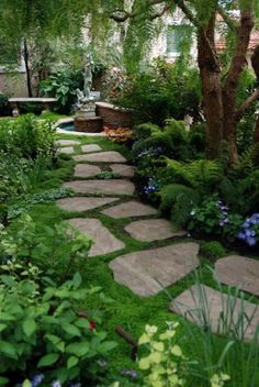 * Jigsaw stones, very natural look, winding pathway Source * Square stepping stone blocks, colored round stones surrounding Source * Ocean wave pattern, contrasting stones Source * Geometric pattern Source * Stepping stone pathway with moss groundcover Source * Jigsaw... #garden #landscape #pathway