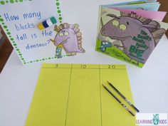 inquiry question- children predict how many blocks tall the dinosaur is. great starter for discussing measurement concepts Numeracy Activities, Measurement Activities, Math Activities For Kids, Math Measurement, Math For Kids, Hands On Activities, Fun Math, 4 Kids, Measurement Kindergarten
