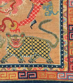 A detail of a very rare, important and early Tibetan carpet fragment. More images and pricing available only for serious inquiries.