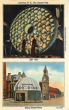 Corning New York NY 1939 200 Inch Telescope Disc Worlds Largest Vintage Postcard Corning New York NY 1930 Glass Observatory and 200 inch telescope glass which was world's largest piece of glass poured