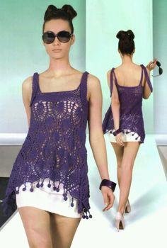 Lace purple top free crochet pattern