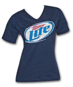 b2ca19309308a Miller Lite Faded Logo Navy Blue Ladies Graphic T Shirt - http   xteereme