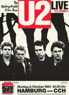 A great poster of U2 in their glory days! For a show in Hamburg Germany on October 8, 1984 during The Unforgettable Fire Tour! Ships fast. 20x28 inches. Check o