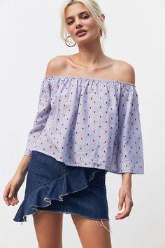 Slide View: 1: Kimchi Blue Embroidered Polka Dot Off-The-Shoulder Blouse