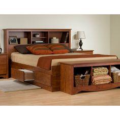 platform beds with storage   Monterey Storage Platform Bed w/ Bookcase Headboard Prepac