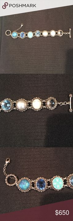 "💥SALE💥Stephen Dweck Silver and Gemstone Bracelet Beautiful condition!  Recently cleaned professionally. Hallmarked. Each stone is different. Gorgeous! Measurements: 7.5"" long, 3/4"" wide. Stephen Dweck Jewelry Bracelets"