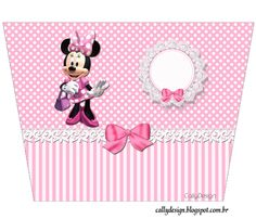 Minnie with Pink Stripes: Free Printable Candy Bar Labels. Mickey Mouse Png, Mickey E Minie, Minnie Png, Minnie Mouse Pink, Minnie Mouse Party, Mouse Parties, Girl Birthday Themes, Kids Party Themes, Pink Birthday