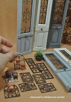 Ornamental plant hanger - laser cut wood, wire and clay pot Wish, Miniatures