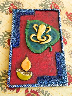 Ganesha on leaf - clay mural tutorial Clay Ganesha, Ganesha Art, Mural Wall Art, Hanging Wall Art, Murals, Mural Painting, Hobbies And Crafts, Arts And Crafts, Buddha