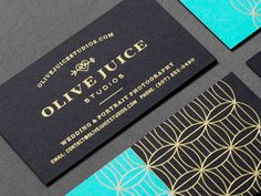 Olive Juice Studios by Eight Hour Day - Business Card Design Brand Identity Design, Graphic Design Branding, Corporate Design, Graphic Design Illustration, Typography Design, Identity Branding, Gold Business Card, Business Card Design, Business Cards