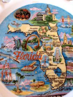 Vintage Florida souvenir plate. At Retro Rosie's Vintage, Bradenton, FL