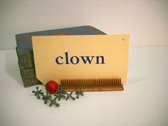 Vintage Flash Cards Words and Pictures CLOWN by wallstantiques, $3.00