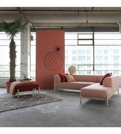 FEST Amsterdam Bank Kate 2-zits met longchair small roze Steelcut Trio 2-515 kvadrat links of rechts - wonenmetlef.nl