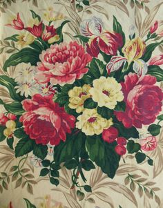 Pair-Vintage-1940s-Curtains-Shabby-Floral-Peonies-Iris-Fabric-81-Long-or-Cutter