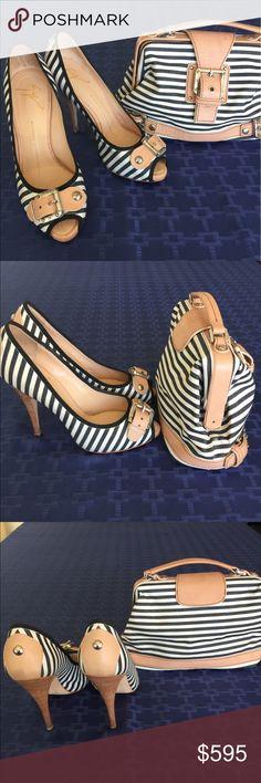 "Giuseppe Zanotti heels and clutch 4"" Black and white striped heels with buckle and peekaboo toe and clutch to match and shoe bag Giuseppe Zanotti Shoes Heels"
